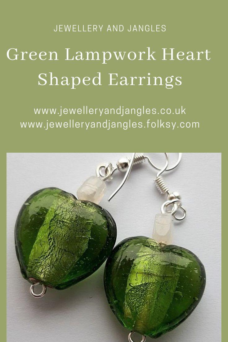 ba4fc9b99 Green Lampwork Heart Shaped Earrings in 2019   Folksy - Handmade Jewellery  and Accessories, Bracelets, Necklaces, Earrings, Pendulums, Keyrings, ...