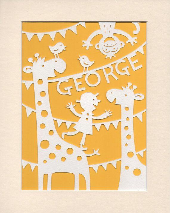 Nursery Art Personalised Jolly Giraffes Papercut - Jungle Nursery Art George or Name of Your Choice