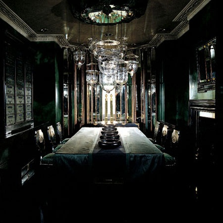 Dining Room in Holland Park by Anouska Hempel (what I imagine the Slytherin Common room to look like!)