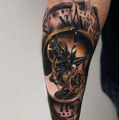 Mens Forearms Pocket Watch Tattoo With Golden Gears