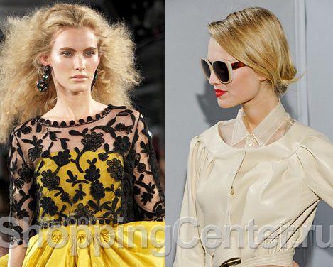 Фото из модных коллекций Oscar de la Renta и Christian Dior Завершающий штрих романтического стиля – прическа с завитками, волнистые волосы. Стрижка может быть как короткой, так и длинной. Актуальны слегка растрепанные модные прически в романтическом стиле.