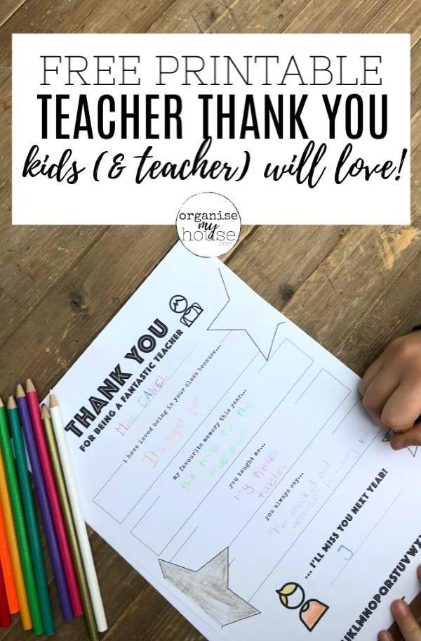 Teacher Thank You Letter Free Printable Template For Kids Teacher Thank You Letter Teacher Thank You Teacher Thank You Notes