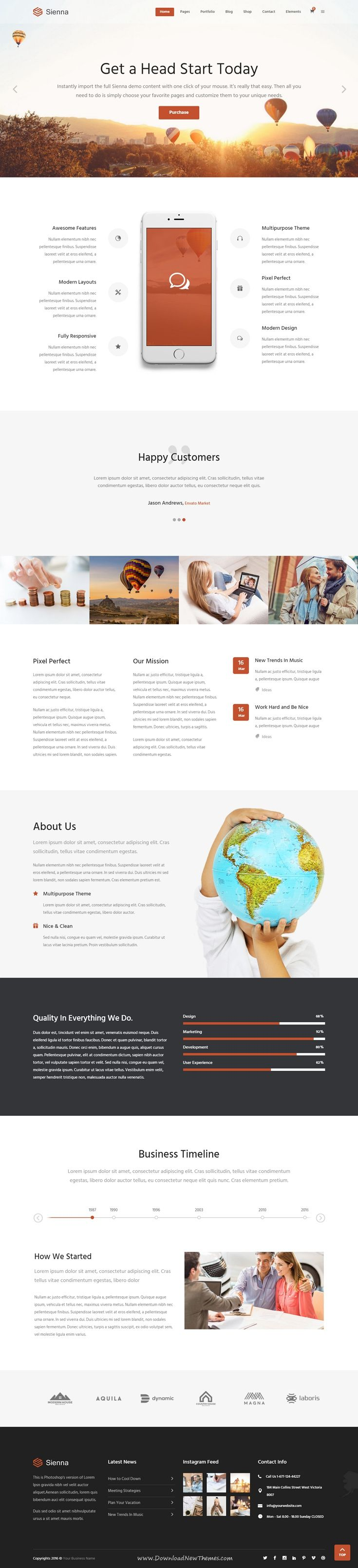 Sienna - Professional All-Purpose Business Theme. Everything you need for your business website form practical features to innovative elements, great plugin compatibility and more.