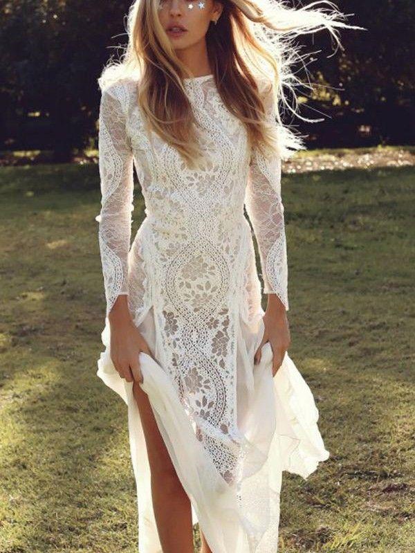 Lang Eng anliegende Rückenfrei Spitze Tüll Weiß Brautkleid