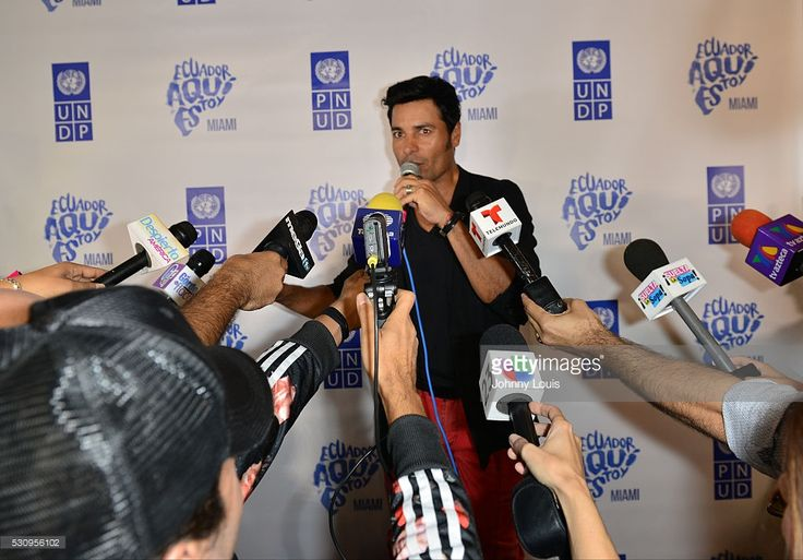 Chayanne backstage press conference after participates in Benefit For Ecuador - 'Aqui Estoy' at BankUnited Center on May 11, 2016 in Miami, Florida.