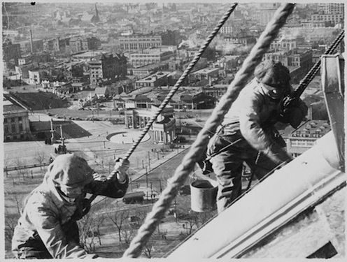 #10 Workers paint the gold dome of Denver Capital, for a project contributing to the Civil Works administration.