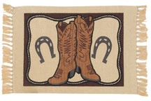 Southwestern Placemats with Cowboy Boots and Horseshoes