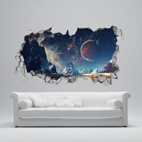 Fondo de pantalla 3d – etiquetas de la pared 3d – Pared Rota – arte de la pared 3d – Pegatina de pared – Vinilos decorativos -SKU: Alien3DM