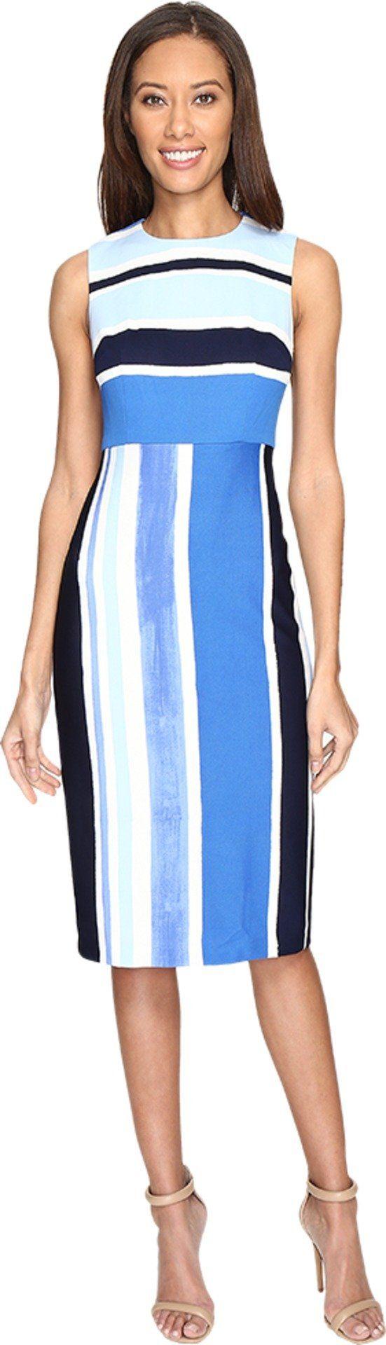 Donna Morgan Women's Sleeveless Pique Fitted Sheath Marine Navy Blue/Ice Multi Dress