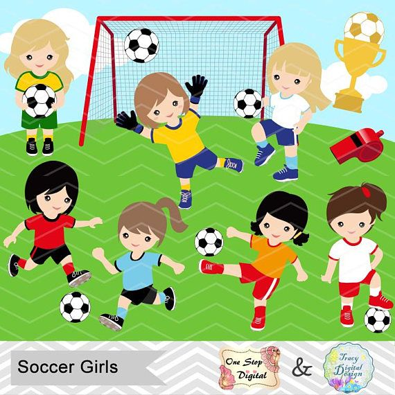 Instant Download Soccer Girl Digital Clipart Soccer Girls Clip Art Digital Soccer Team Clipart So Soccer Girl Girls Soccer Clip Art