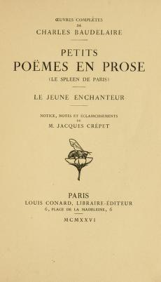 """Charles Baudelaire: """"Petits Poèmes en prose"""""""