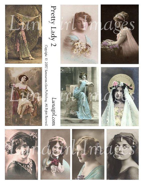 PRETTY LADY No2 digital collage sheet vintage photos by Lunagirl (Craft Supplies & Tools, Scrapbooking Supplies, Scrapbooking Clip Art, art, collage, mixed media, altered, assemblage, ephemera, digital, paper, card, tag, scrapbooking, women, vintage)