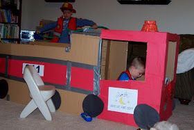 This is the fire truck I made out of big boxes for the kids to play in. I finally got it done just before Fire Prevention Month ends! It t...