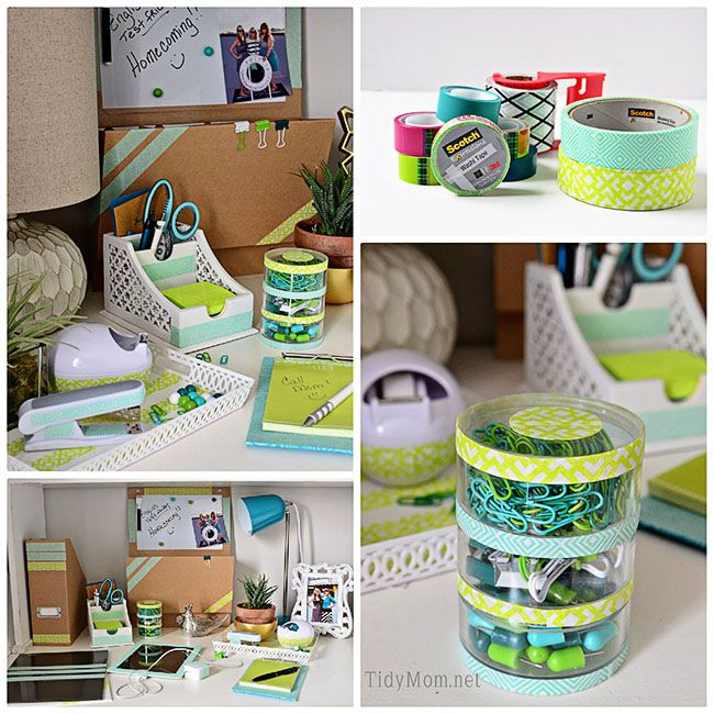 Make your own custom desk accessories using Washi Tape! #diy #washitape