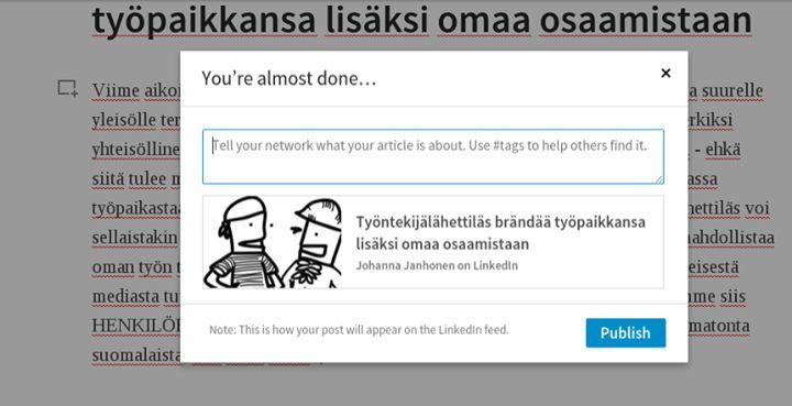 LinkedIn kehottaa käyttämään #häsiä Pulse-bloggausten promotoimisessa. #linkedinfi