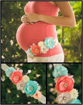 Maternity Photography Maternity Sash Coral Teal Turquoise Peach Maternity Belt Band Floral Etsy www.lovemyhero.etsy.com