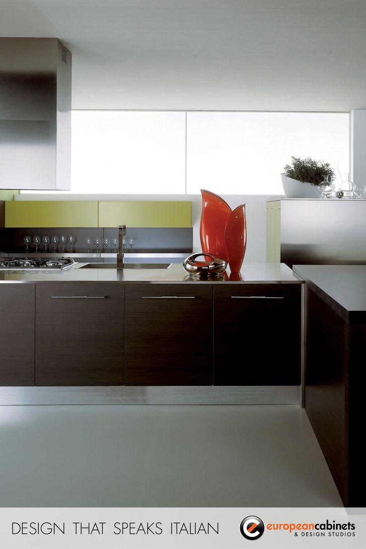 Dark Wood Finished Modern Kitchen Cabinets.