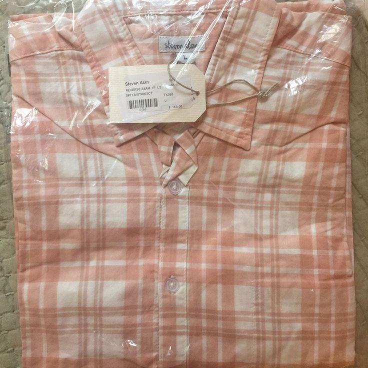 NWT $168 Steven Alan Men's Peach Plaid Reverse Seam Button Shirt Large #StevenAlan #ButtonFront