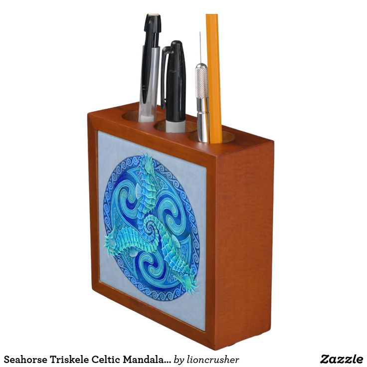 """Seahorse Triskele Celtic Mandala Desk Organizer by Rebecca Wang on Zazzle.  Keep your desk neat and tidy with a customized desk organizer. Beautiful colorful animal artwork adorns the front and back of this mahogany wood finished desk piece. Great for keeping clutter contained! Dimensions: 5"""" l x 5"""" w x 1.75"""" d Printed front and back on two 4.25"""" white ceramic tiles. Designed with three compartments."""
