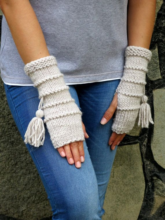 Knit Fingerless gloves in oatmeal color, Gloves Mittens, Long knit gloves, Boho…