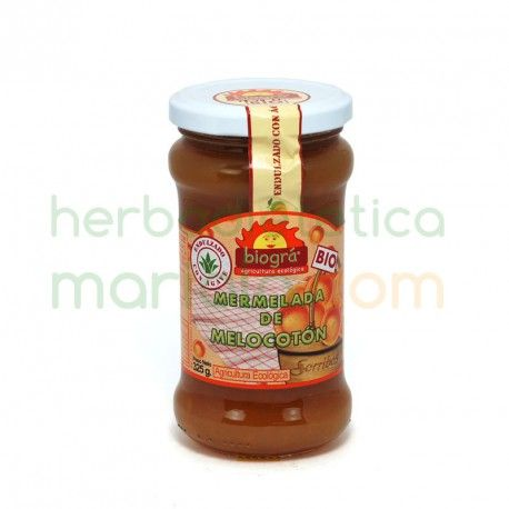 Biográ, Mermelada de Melocotón Bio, procedentes de cultivo ecológico, de gran sabor y con poco aporte calorico. Endulzadas con jarabe de agave.
