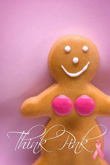 A use for the pink M's...gingerbread woman prosthesis... Oh well at least it shows her FACE (lol) breast cancer awareness, #BreastCancerAwareness