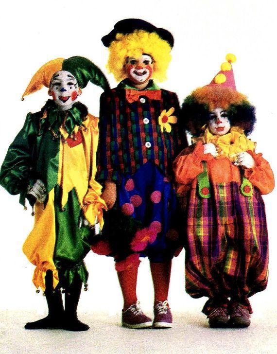 Disfraces para niños bufón del payaso del hobo de los niños del traje de Halloween Simplicidad 7120 coser de la vendimia del patrón de tamaño 2 - 4 CORTAR