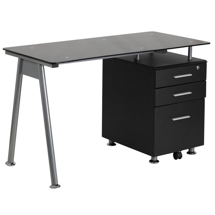 Black Glass Computer Desk with Three Drawer Pedestal -Black Glass Computer Desk…