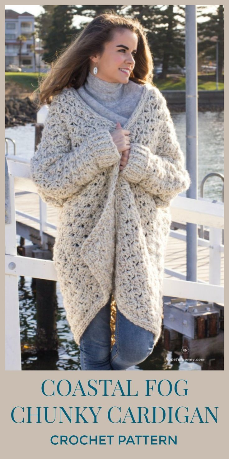 Coastal Fog Chunky Cardigan Kleding Haken Crochet Pinterest