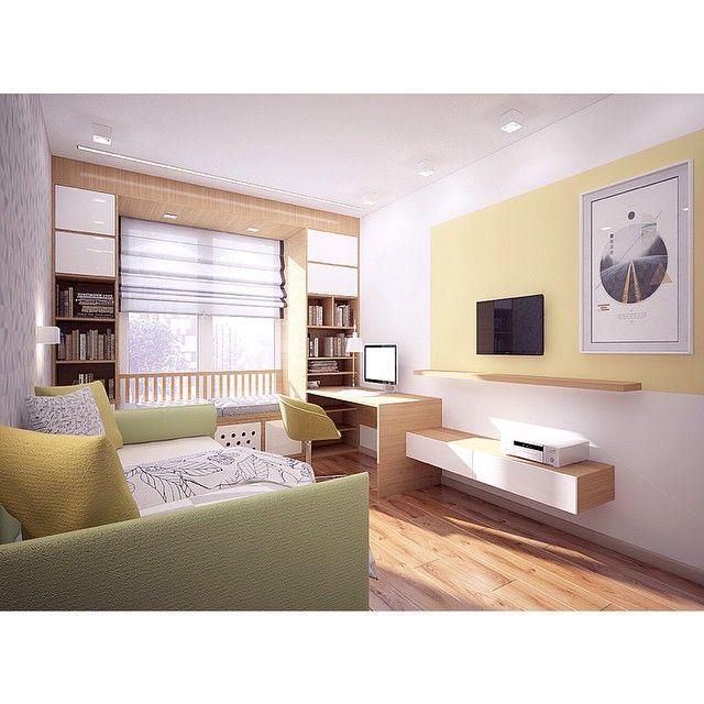 Всегда непросто сделать комнату, которая в будущем должна стать детской, а пока будет использоваться, как кабинет, гостевая и тд.  Я почти всегда для таких помещений выбираю желто-зеленые краски. :) --------------------------------------------- #ттдд #дизайн #дизайнинтерьера #интерьеры #проект #дизайнер #design #designinterior #interiordesign #3d #yusupova_design #interiorproject