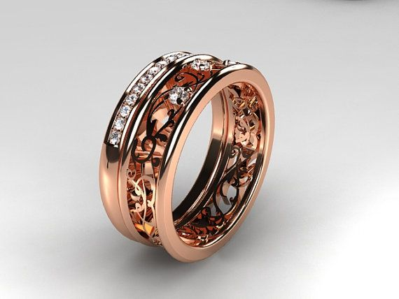 Filigree engagement ring set with Diamonds in Rose Gold