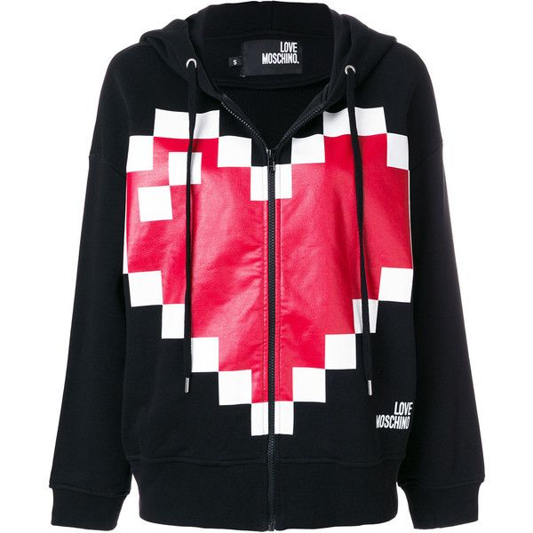 47aeea29bc034a Love Moschino pixilated heart logo hoodie ( 267) ❤ liked on Polyvore  featuring tops