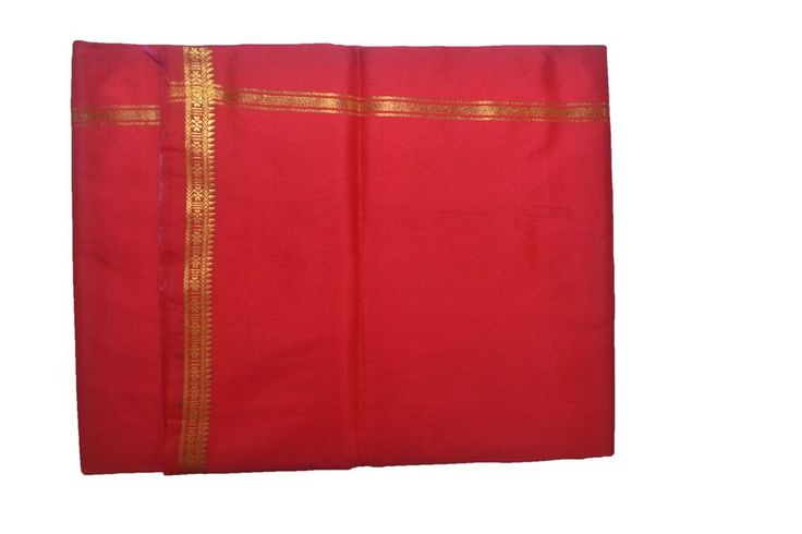 Red Dhoti With Shawl In Pure Silk Golden Border