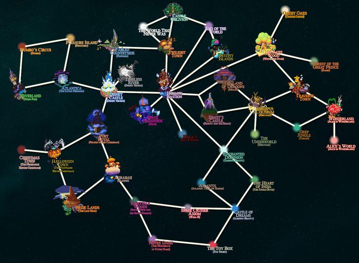 kingdom hearts worlds | Kingdom Hearts World Map \