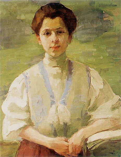 Polish Artist Olga Baznanska, Self-portrait, 1893 Autoportret (fragment) 1893. Olej na płótnie. 70 x 57 cm. Muzeum Narodowe w Warszawie.