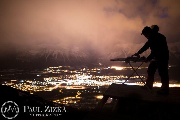 """Lady Mac Extreme Ironing"" IV, Mt Lady Macdonald, Canmore, Alberta."