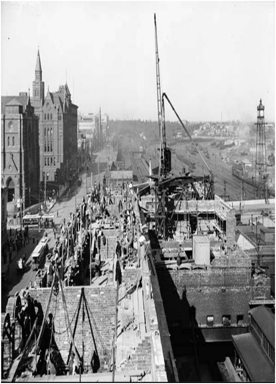 """Extension to Flinders Street Station"": . Melbourne CBD Australia - 1907-1908 from the John Buckland collection ""Railway photos 1930 - 1988."""