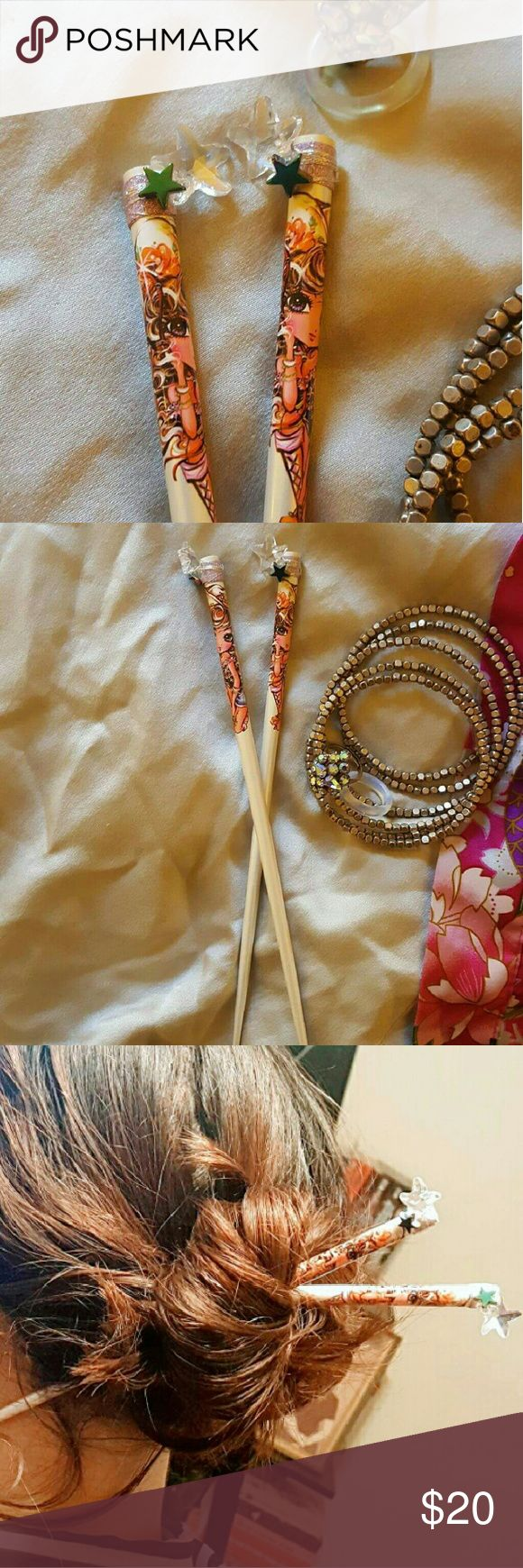 Urban cowgirl Hair sticks!! Hand decorated Japanese Hairsticks! So on trend. Perfect lil' gift!! Kotobuki Accessories Hair Accessories