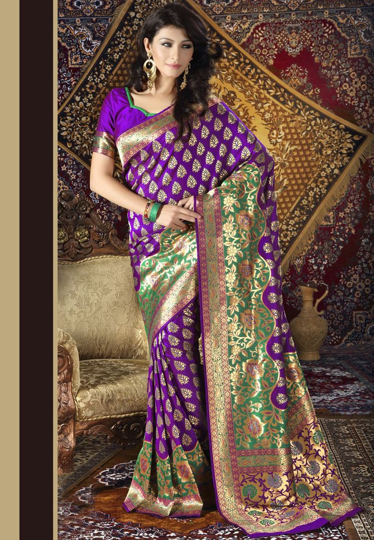 Purple Banarasi Art Silk Saree with Blouse