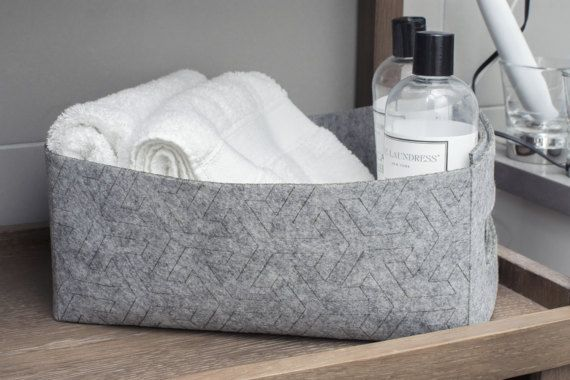 Felt Storage Basket Gray Toy Box Bin Catchall by MetisDeco on Etsy