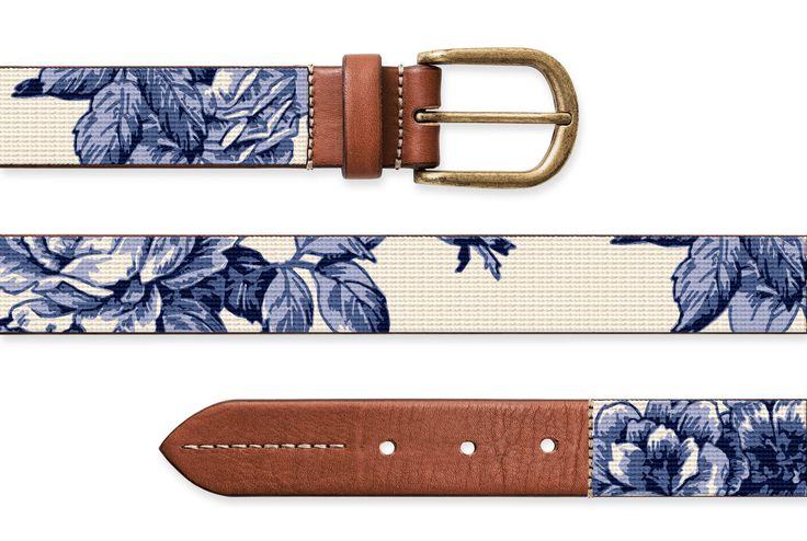 Chelsea Needlepoint - Blue and White Rose Toile, Needlepoint Belt