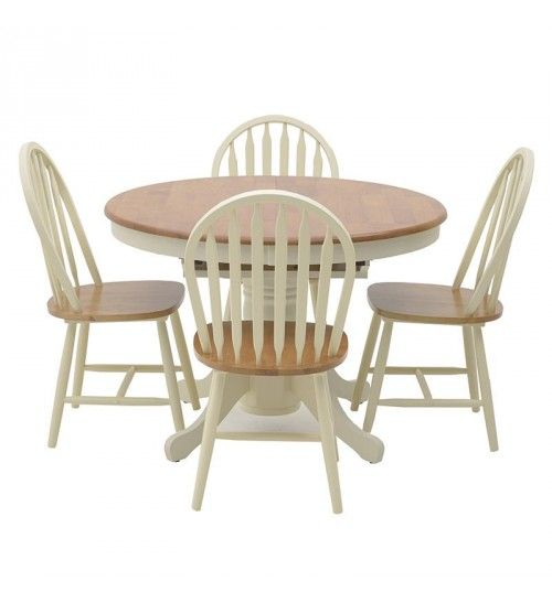 S_5 WOODEN DINING TABLE IN BROWN_WHITE COLOR  W_4 CHAIRS