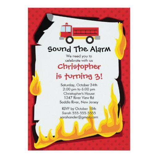 De 440 bedste billeder fra fire truck birthday party invitations p fireman boy firetruck birthday party invitation stopboris Image collections