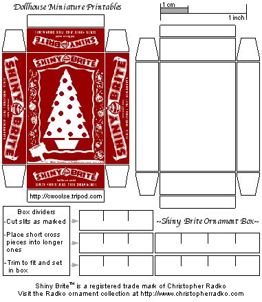 Mini Dollhouse Printable Ornament Box - this one even has the printie for the separators!   Source: C Woolse