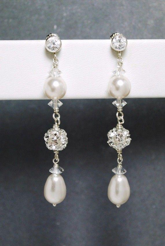 Long Wedding Earrings, Bridal Earrings, White Pearl Crystal CZ Post Earrings, Dangle Teardrop Pearl Earrings, Rhinestone Fireball Earrings