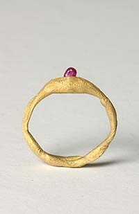 """""""Ruby Ring   Karl Fritsch (b. 1963 in Sonthofen, Germany) is a jeweler whose craft has been defines as """"artistic intervention."""" Fritsch often uses existing pieces as a starting place -- removing or replacing the stones, recasting the settings, oxidizing the metal -- to create wholly unique and inspired renovations of traditional jewelry. Fritsch's work is included in several important European museums."""