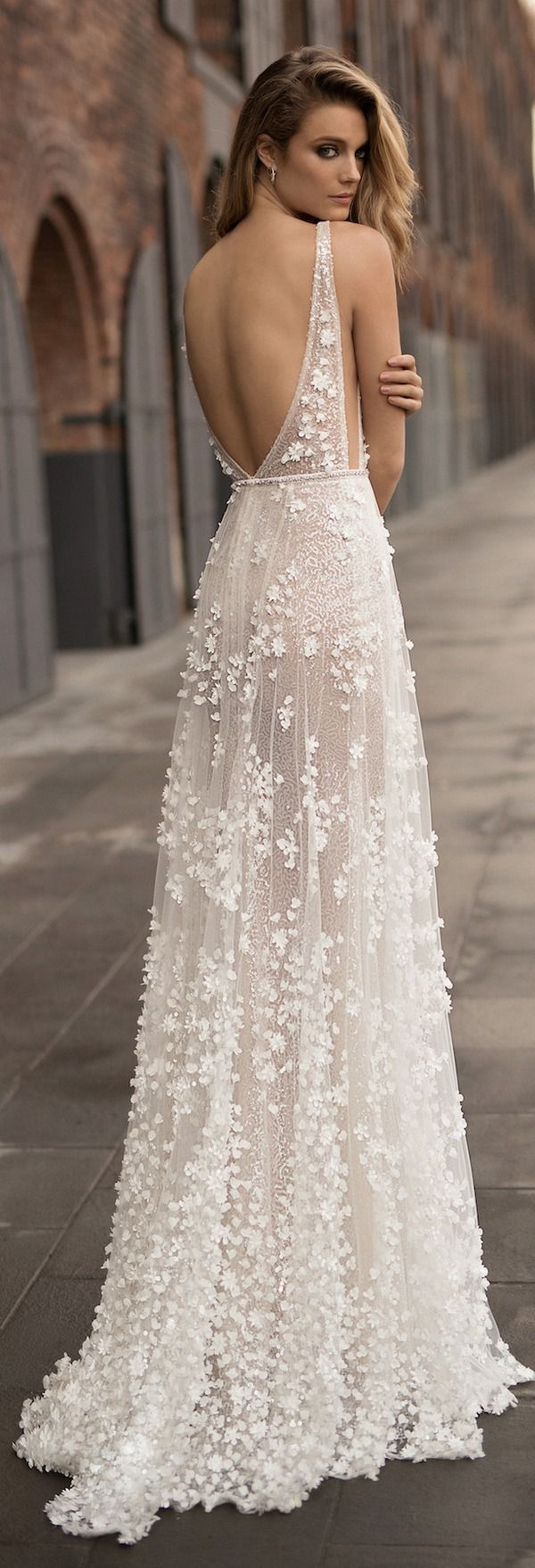 Berta Spring Wedding Dresses 2018 | Deer Pearl Flowers embroider this entire sheath silhouette wedding gown to create a sweet, soft, romantic bridal gown design. The open back and side slits add the perfect touch of sexiness and style