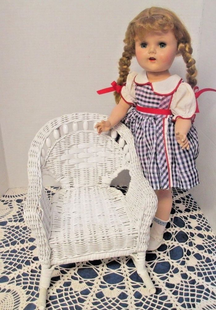 "Vintage White Wicker Doll Rocking Chair Will Hold a Doll About 19"" or Large BK  #Unbranded"