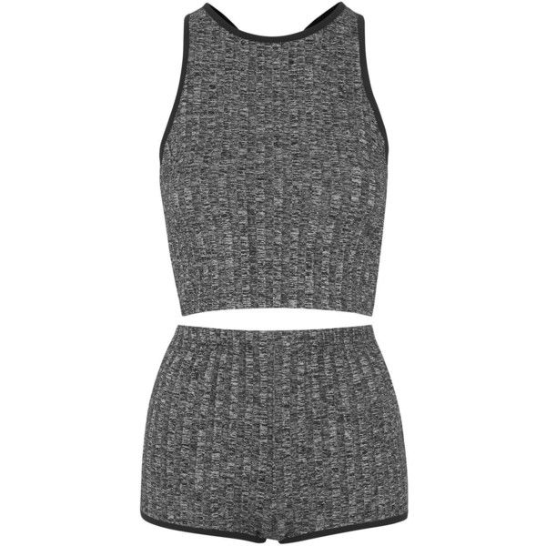 TOPSHOP '90s Ribbed Pajama Set featuring polyvore, women's fashion, clothing, intimates, sleepwear, pajamas, dresses, tops, shorts, grey and topshop