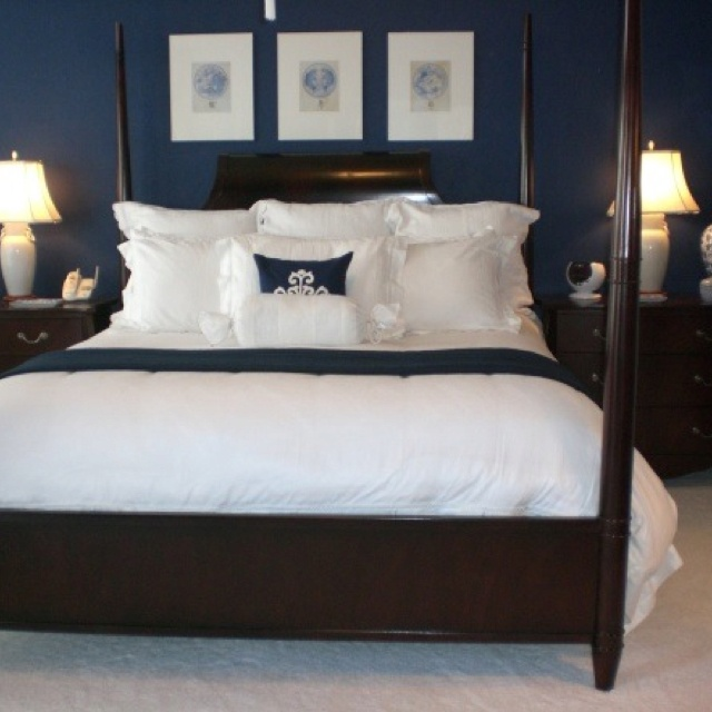 Navy blue bedroom paint color to go around the beadboard for Dark walls white furniture